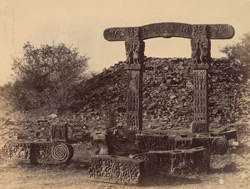 Front view of torana at the small stupa, Sanchi, Bhopal State